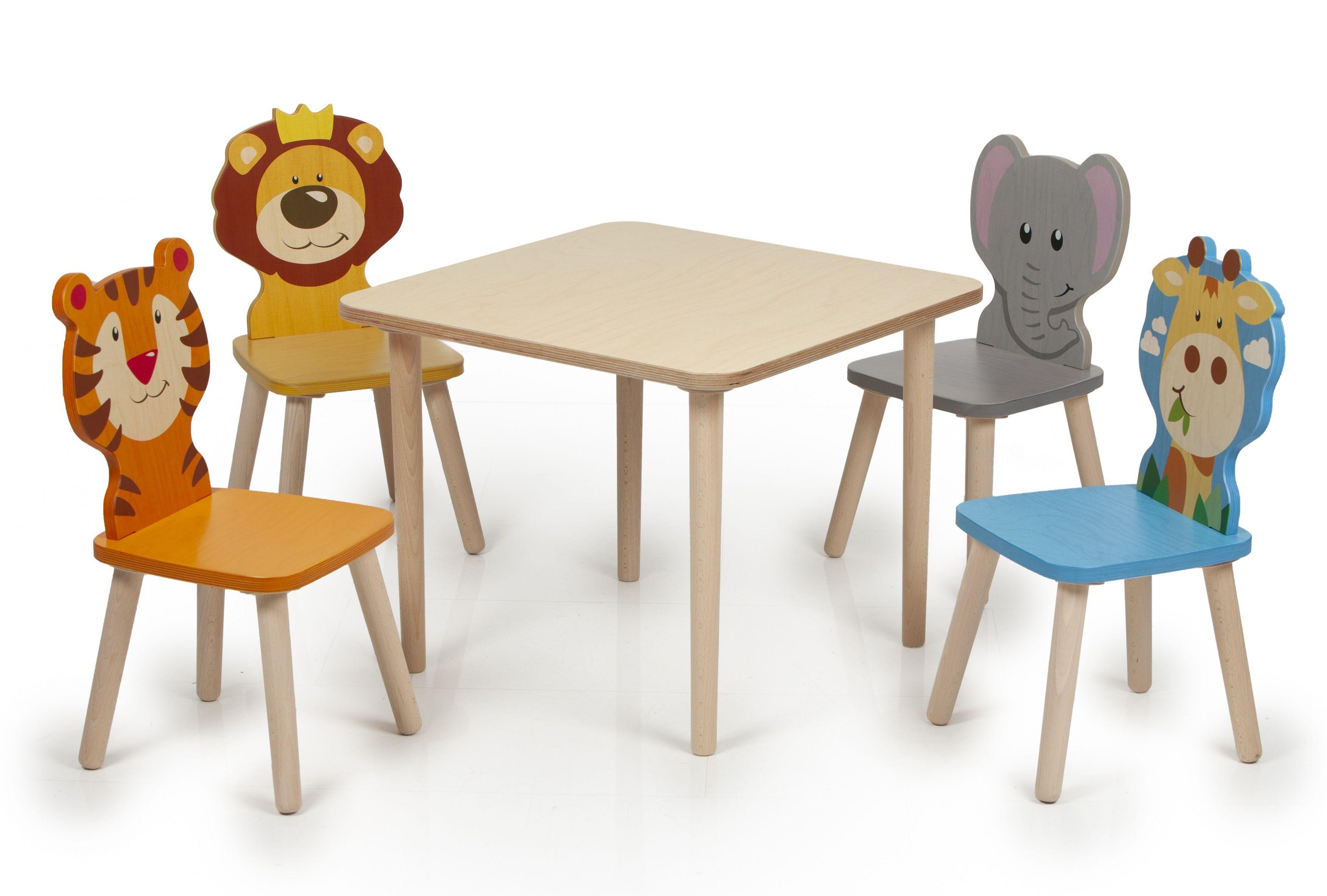 Weizenkorn Kindersitzgruppe Holz Tiere Kindertisch und Stühle Tisch Kinder Kleinkind 25492