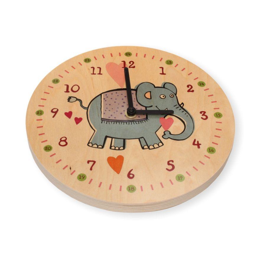 Wanduhr Kinderzimmer Elefant Holz Uhr Kinder Kinderuhr Art-Nr. 6162