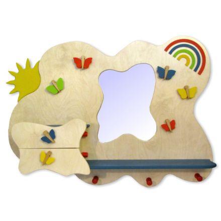 Garderobe Aus Holz Kinder Spiegel Regal Schublade Ablage