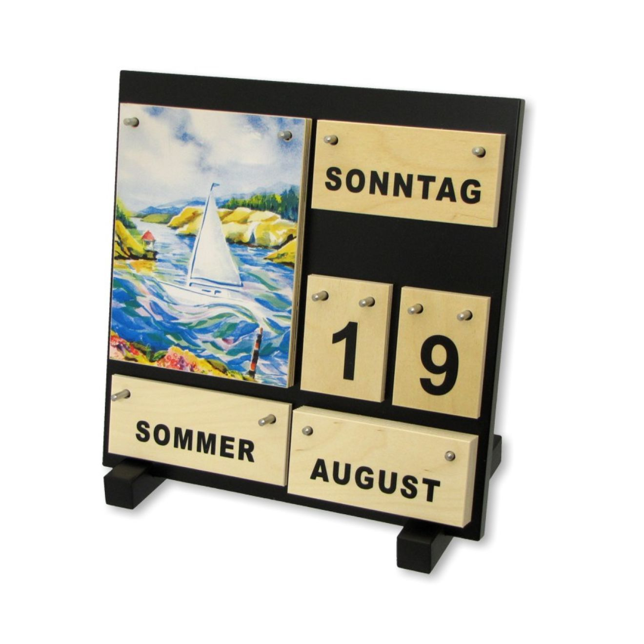 ewiger kalender aus holz vier jahreszeiten dauerkalender. Black Bedroom Furniture Sets. Home Design Ideas
