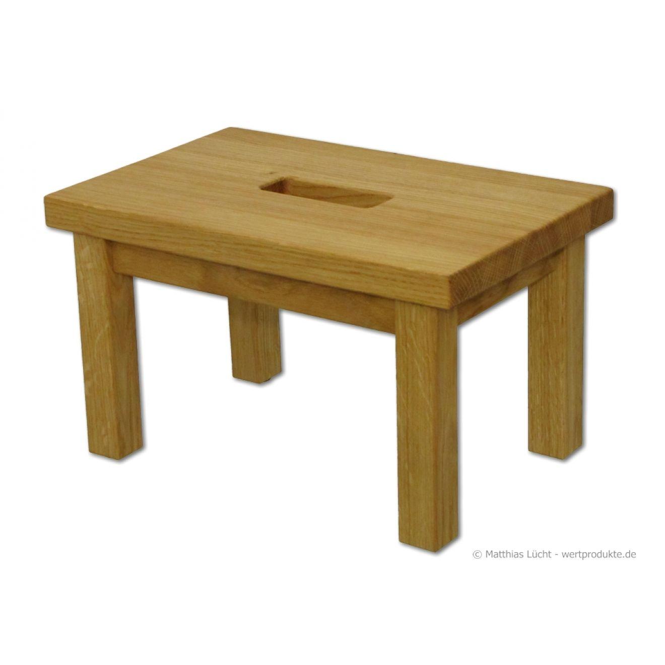 fu bank mit griffloch holz eiche fu hocker tritthocker schemel ge lt wertprodukte. Black Bedroom Furniture Sets. Home Design Ideas
