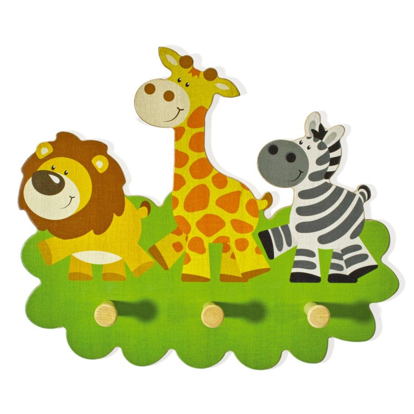 garderobe kinder tiere holz giraffe kindergarderobe 3 haken l we zebra wertprodukte. Black Bedroom Furniture Sets. Home Design Ideas