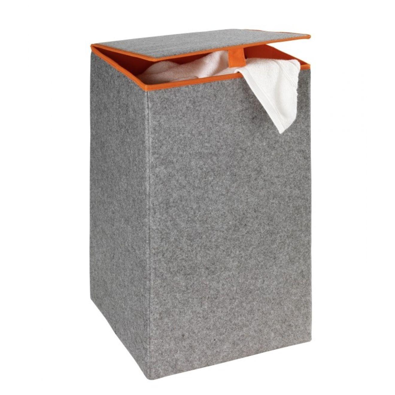 w schebox grau mit orange aus filz w schekorb aufbewahrungsbox wertprodukte. Black Bedroom Furniture Sets. Home Design Ideas